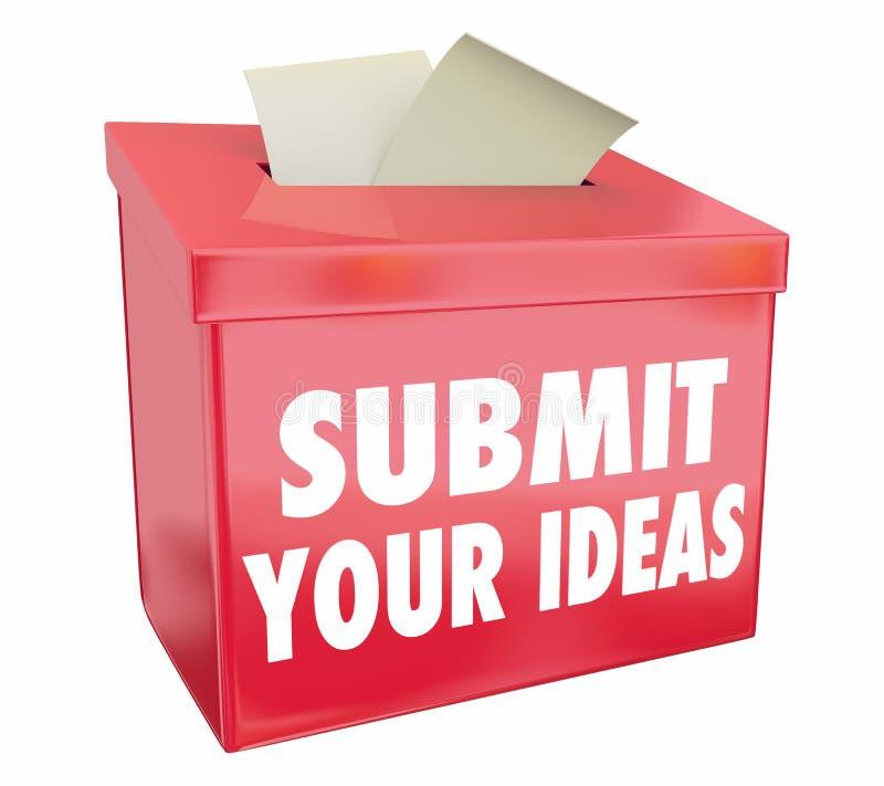 Presenti le vostre idee la scatola di suggerimento che invia le proposte illustrazione vettoriale