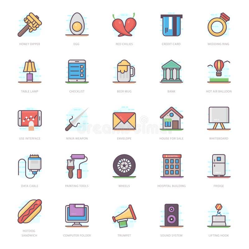 Banking Flat Icons Pack stock illustration