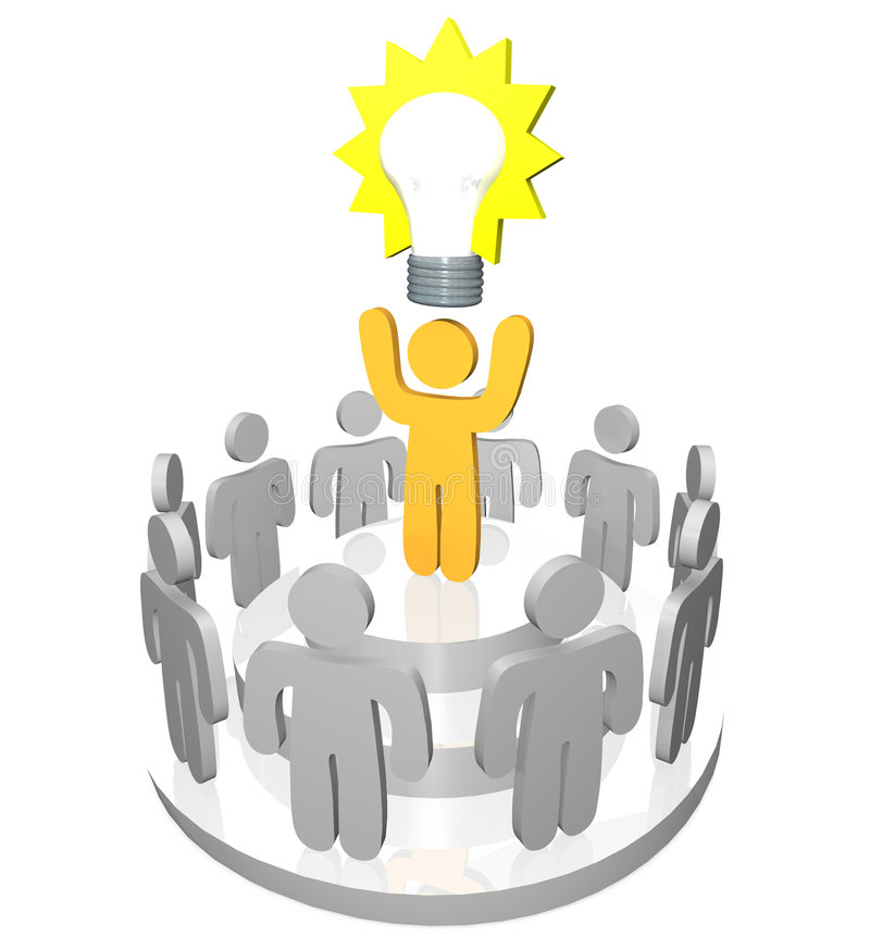 Presenting the Big Idea. 3D render of one person presenting the Big Idea in the form of a light bulb to a gathering of team members and co-workers vector illustration