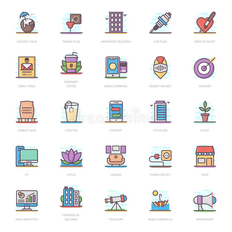Drinks Flat Icons Pack vector illustration
