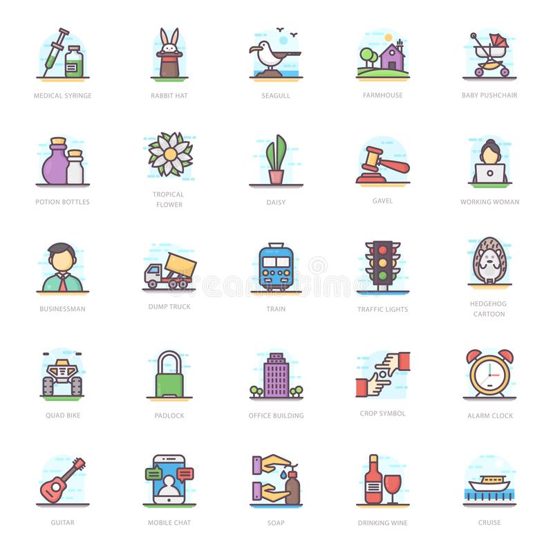 Flat Icons Pack vector illustration