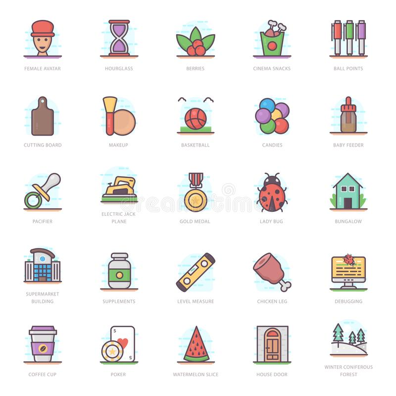 Meal Flat Icons Pack stock illustration