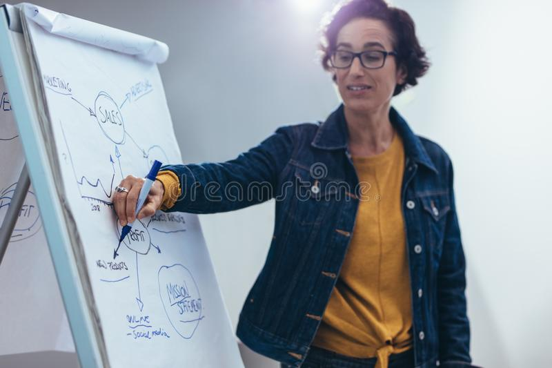 Presenting new sales strategy royalty free stock photos