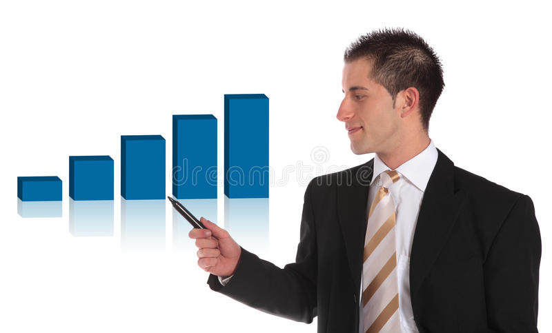 Download Presenting A Positive Bar Graph Stock Photo - Image of personnel, balance: 13875636