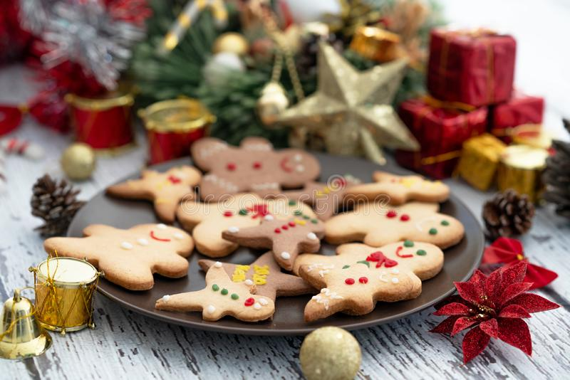 Presenting traditional gingerbread cookies with ornaments for christmas celebration royalty free stock photos