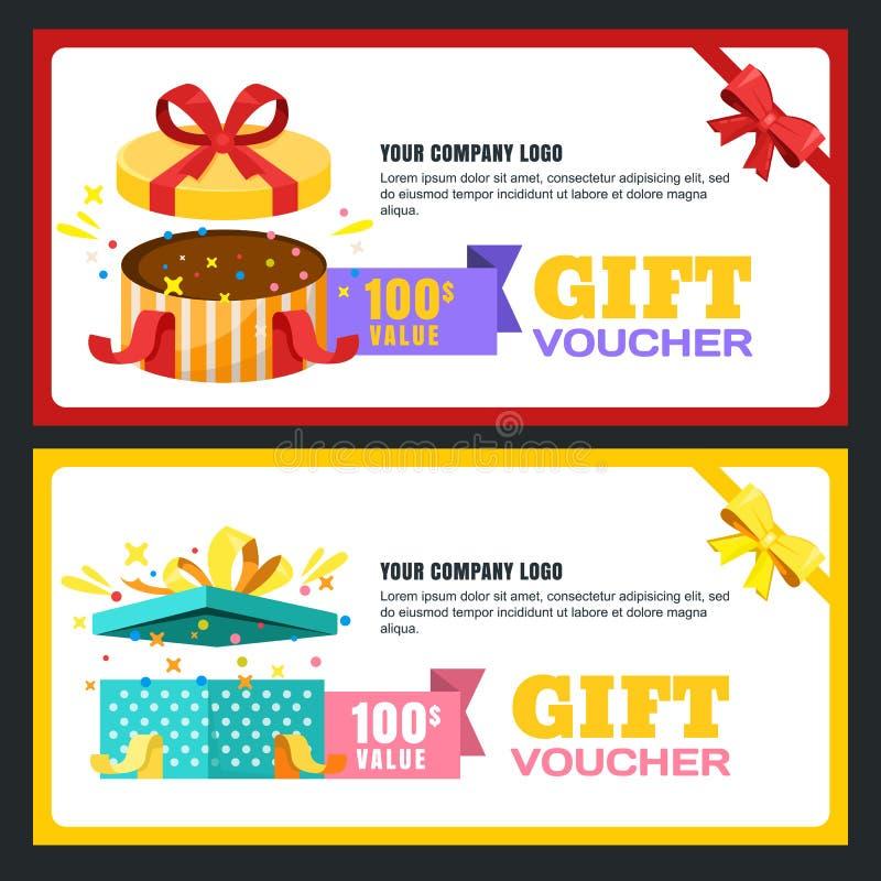 Presentkort-, certifikat- eller för kupongvektordesign orientering Rabattbaner eller mall för feriehälsningkort stock illustrationer