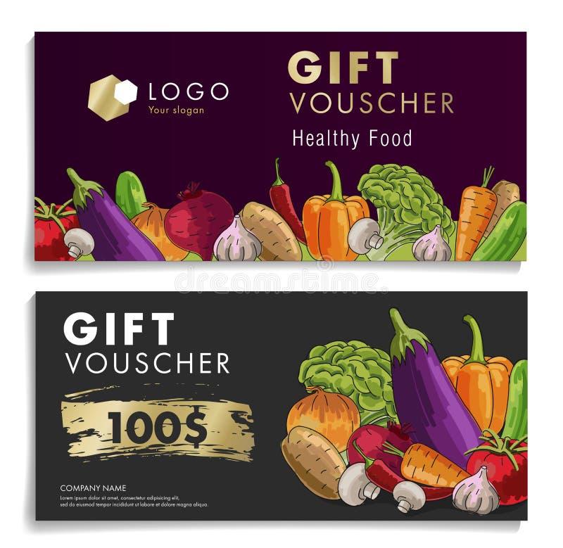 Presentkort för supermarket med grönsaker och pris vektor illustrationer