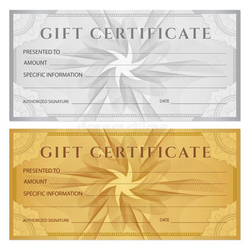 Presentkort kupong, kupong, biljettmall Guillochemodellvattenstämpel, spirograph royaltyfri illustrationer