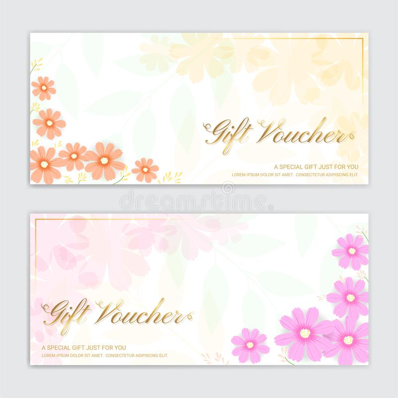 Presentkort, kupong, gåvakort eller kassakupongmall royaltyfri illustrationer
