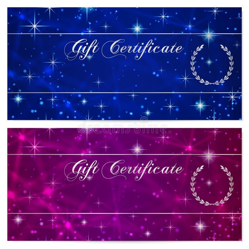 Presentkort-, kupong-, kupong-, belöning- eller gåvakortmall med brusanden som blinkar stjärnatextur (modellen) Blå natthimmel royaltyfri illustrationer