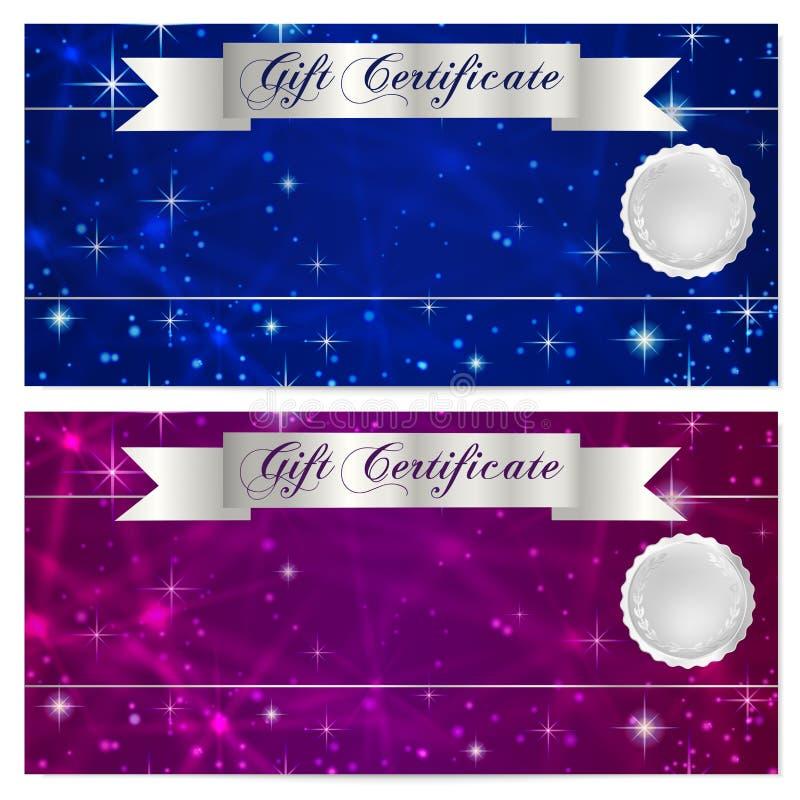 Presentkort-, kupong-, kupong-, belöning- eller gåvakortmall med brusanden som blinkar stjärnatextur (modellen) sky för natt för  royaltyfri illustrationer
