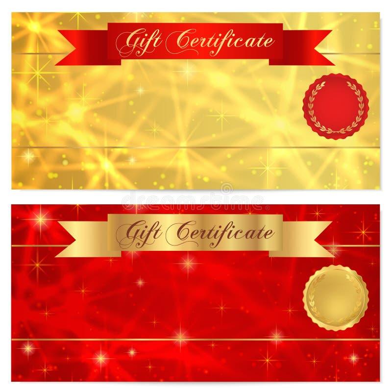 Presentkort-, kupong-, kupong-, belöning- eller gåvakortmall med brusanden som blinkar stjärnatextur, rött band (banret) royaltyfri illustrationer