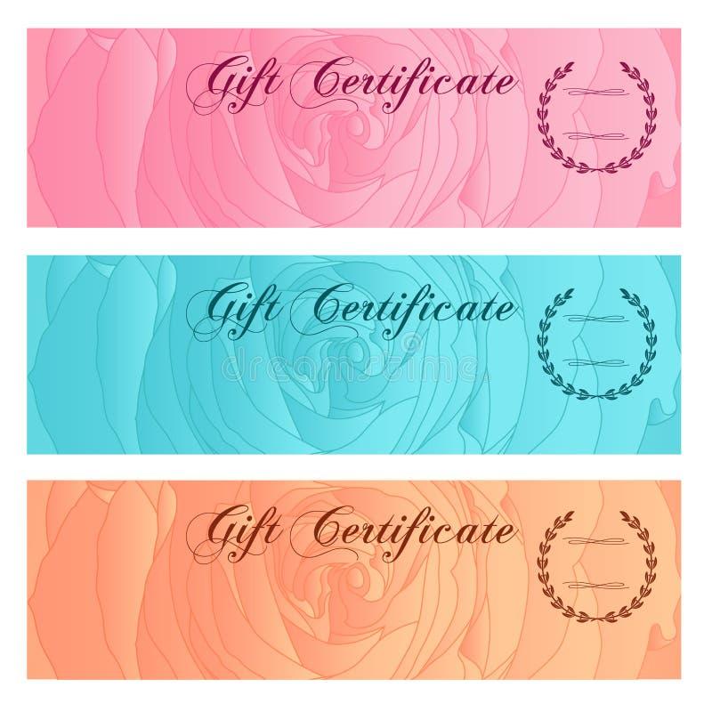 Presentkort kupong, kupong, mall för belöning-/gåvakortuppsättning med den blom- rosa konturn (blommamodellen) Basera illustratio stock illustrationer