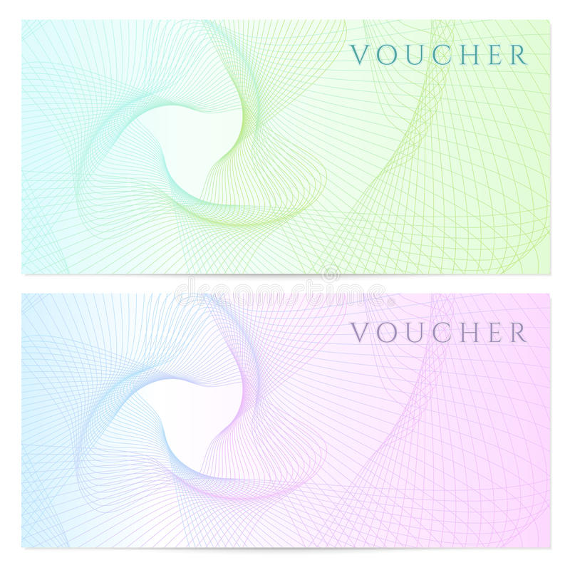 Presentkort kupong, kupongmall. Färg vektor illustrationer