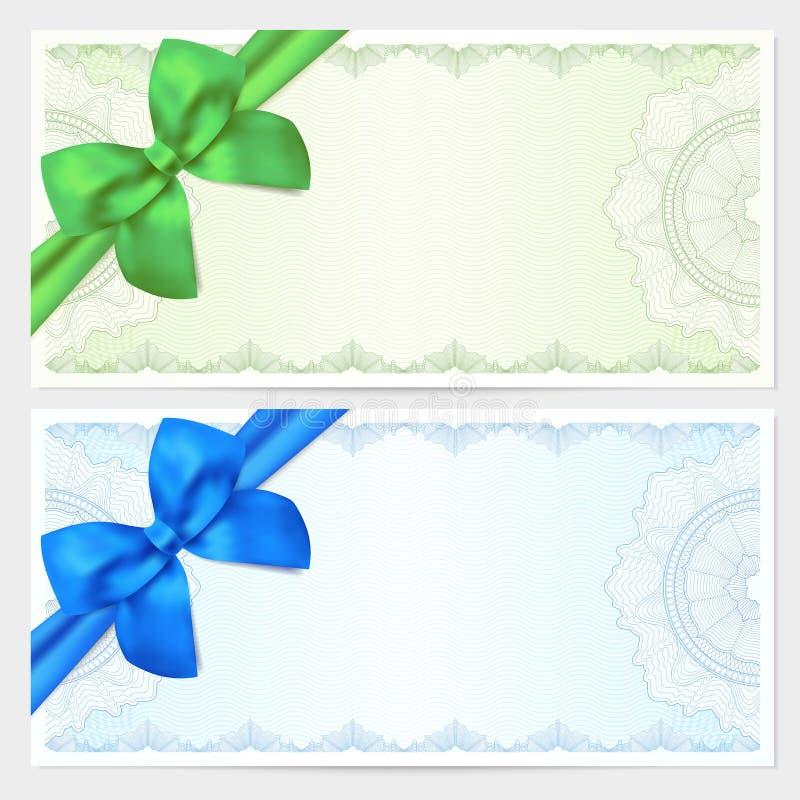 Presentkort kupong, kupongmall med pilbågen stock illustrationer