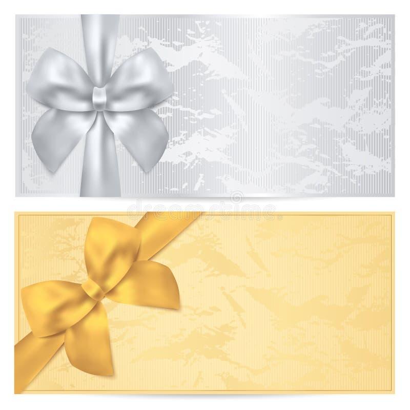 Presentkort kupong, kupongmall. Pilbåge vektor illustrationer