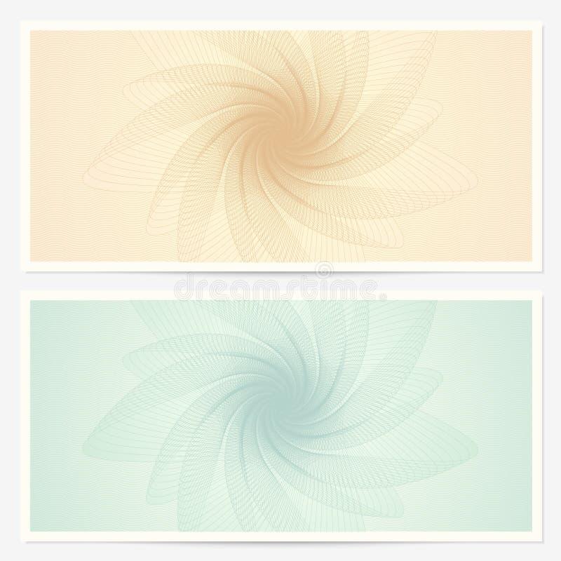 Presentkort-/kupongmall. Guilloche vektor illustrationer