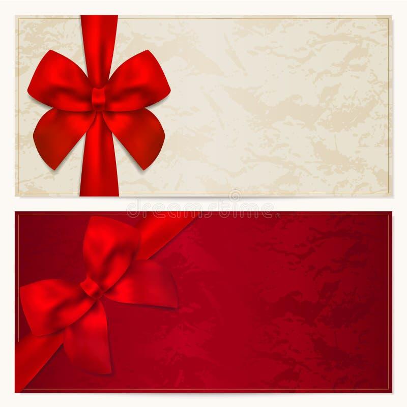 Presentkort-/kupongmall. Röd pilbåge (band) stock illustrationer
