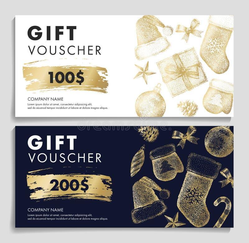 Presentkort med julmodellen i guld- färger vektor illustrationer