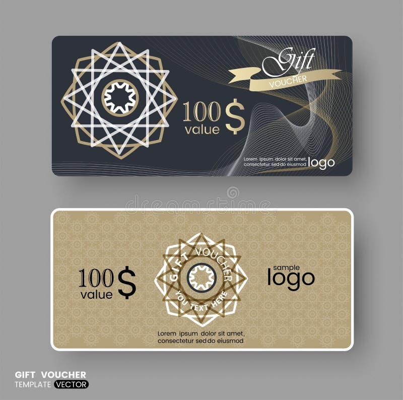 Presentkortkupongkupong, mall för affärskort med den guld- guillochemodellen vektor illustrationer