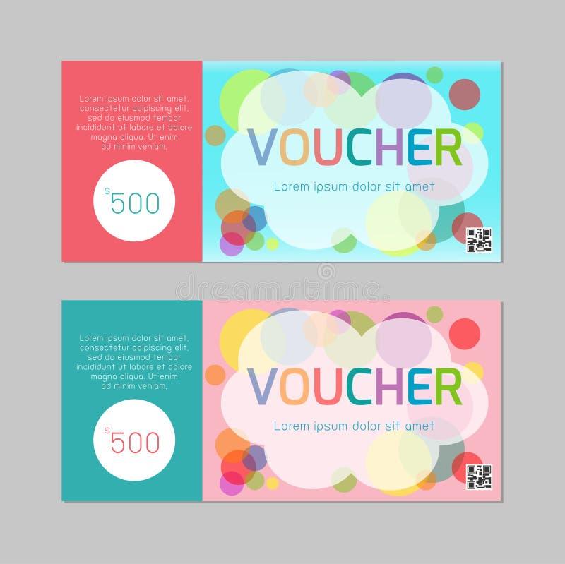 Presentkortmall med den färgrika modellen, gullig mall för design för presentkortcertifikatkupong, illustration för ungekupon stock illustrationer