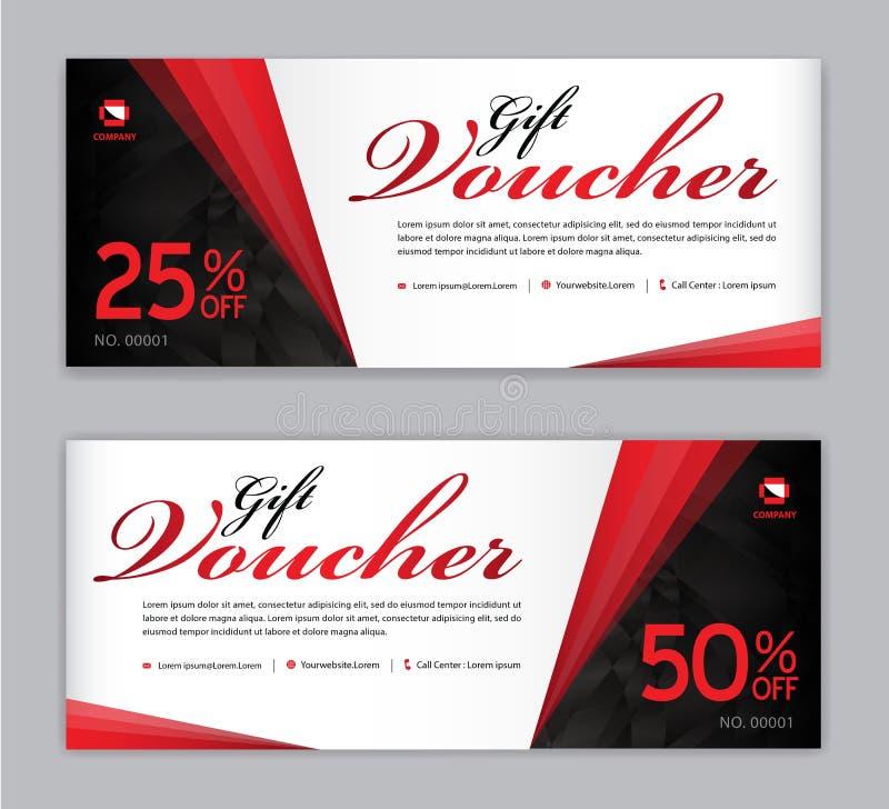 Presentkortmall, Sale baner, horisontalorientering, rabattkort, titelrader, website, röd bakgrund royaltyfri illustrationer