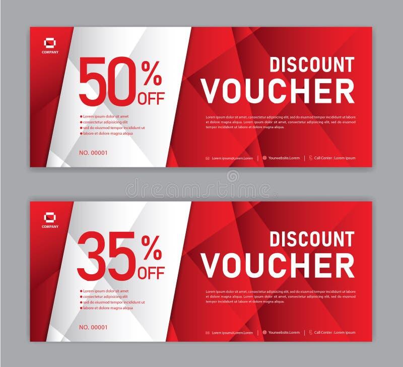 Presentkortmall, Sale baner, horisontalorientering, rabattkort, titelrader, website, röd bakgrund, vektorillustration stock illustrationer