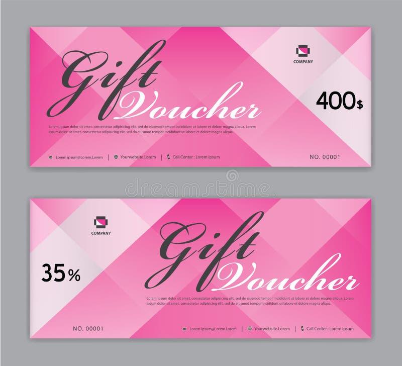 Presentkortmall, Sale baner, kupongdesign, biljett, horisontalorientering, rabattkort, titelrader, website, rosa bakgrund stock illustrationer