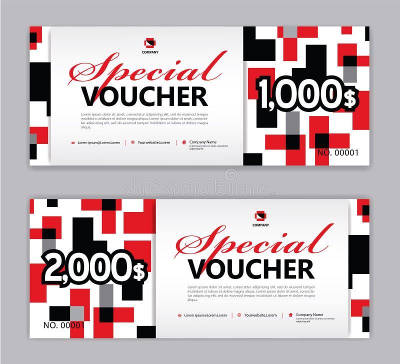 Presentkortmall, special kupong, Sale baner, horisontalorientering, rabattkort, titelrader, website, röd bakgrund, vektor vektor illustrationer