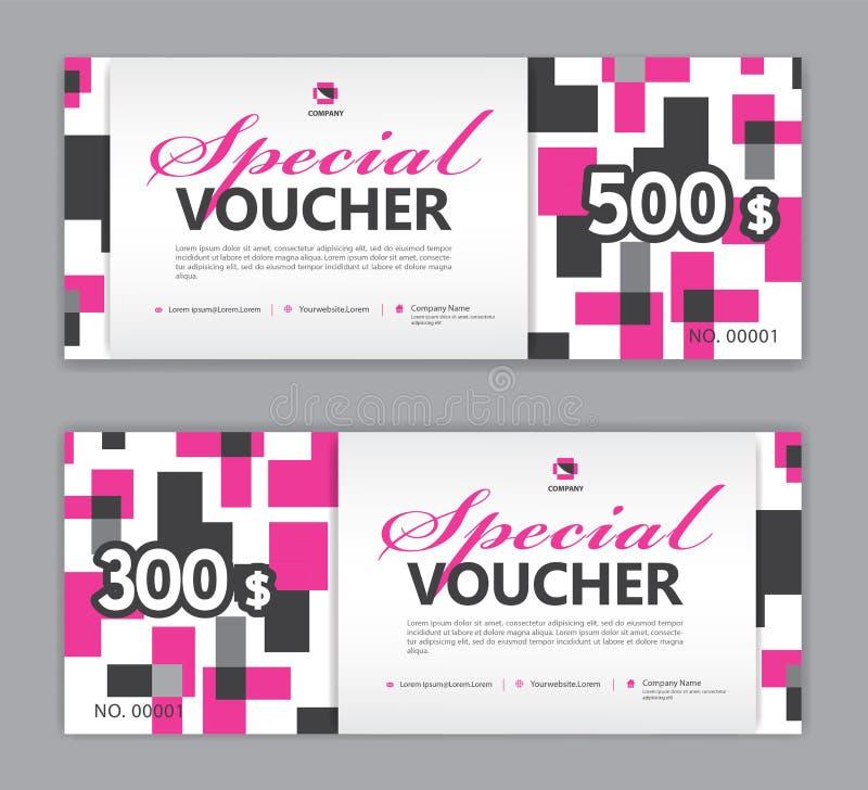 Presentkortmall, special kupong, Sale baner, kupongdesign, biljett, horisontalorientering, rabattkort, titelrader, website vektor illustrationer