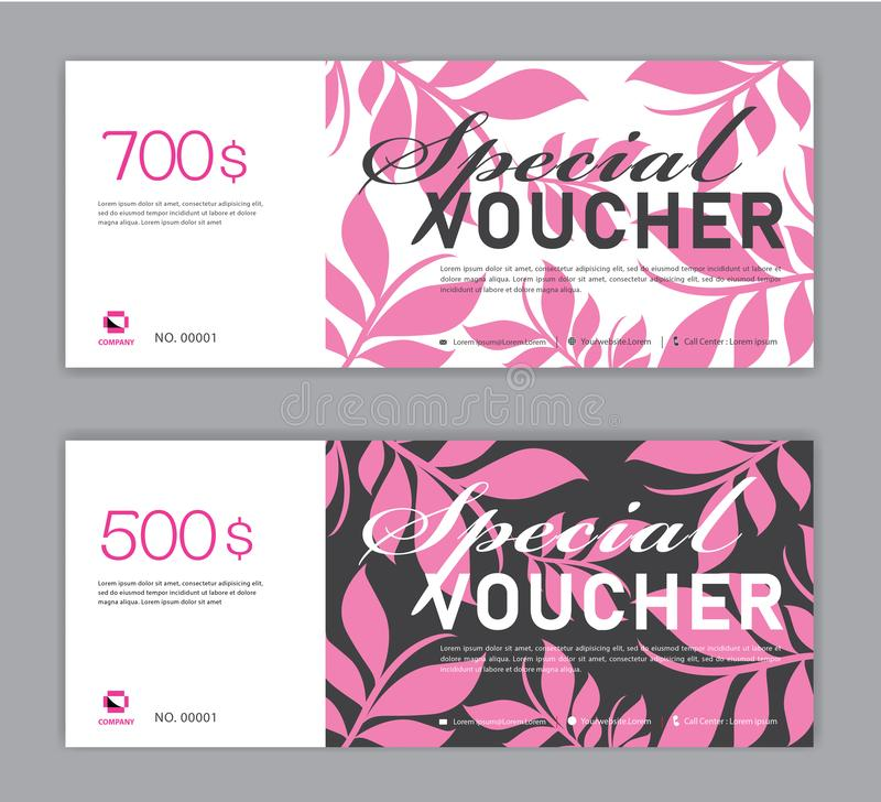 Presentkortmall, special kupong, Sale baner, kupongdesign, biljett, horisontalorientering, rabattkort, titelrader, website stock illustrationer