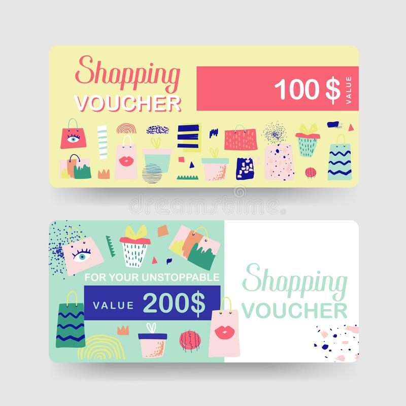 Presentkortmallar Kort för rabattkupongcertifikat med shoppingpåsar och modebeståndsdelar Sale befordran, baner royaltyfri illustrationer