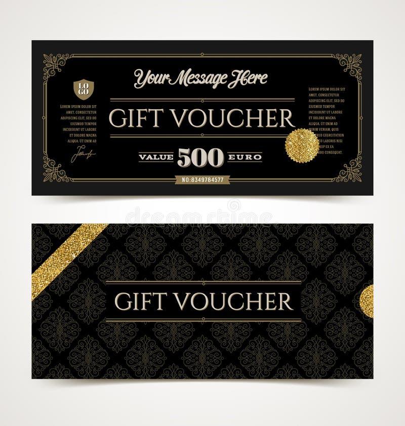 Presentkortmallen med blänker guld vektor illustrationer