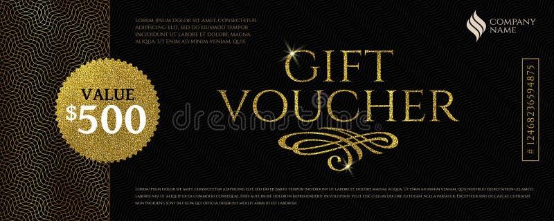 Presentkortmallen med blänker guld- beståndsdelar också vektor för coreldrawillustration Design för inbjudan, certifikat, gåvakup stock illustrationer
