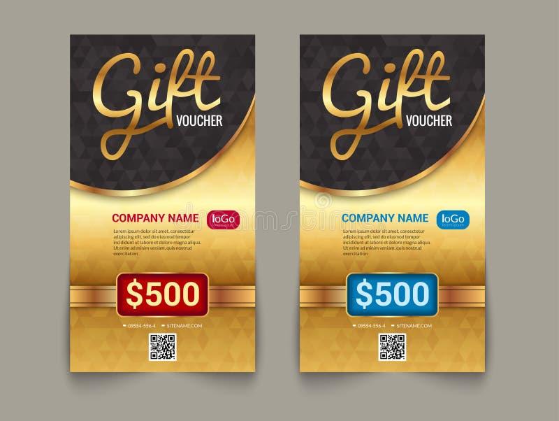 Presentkortmarknadsmall med guld- etikettsmarknadsdesign För certifikatkupong för specialt erbjudande guld- mall för design vektor illustrationer