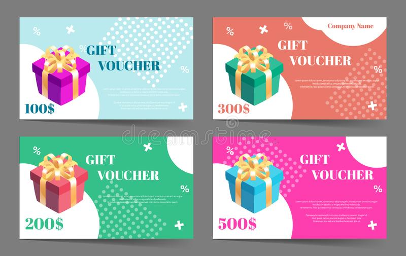 Presentkortsamling Ställ in av vektormallar för gåvakort eller rabatterbjudande royaltyfri illustrationer