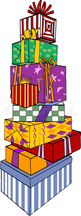 Presents. Stacked, ribbon, bows, wrapping paper