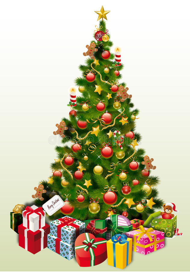 Christmas Tree & Presents stock photo