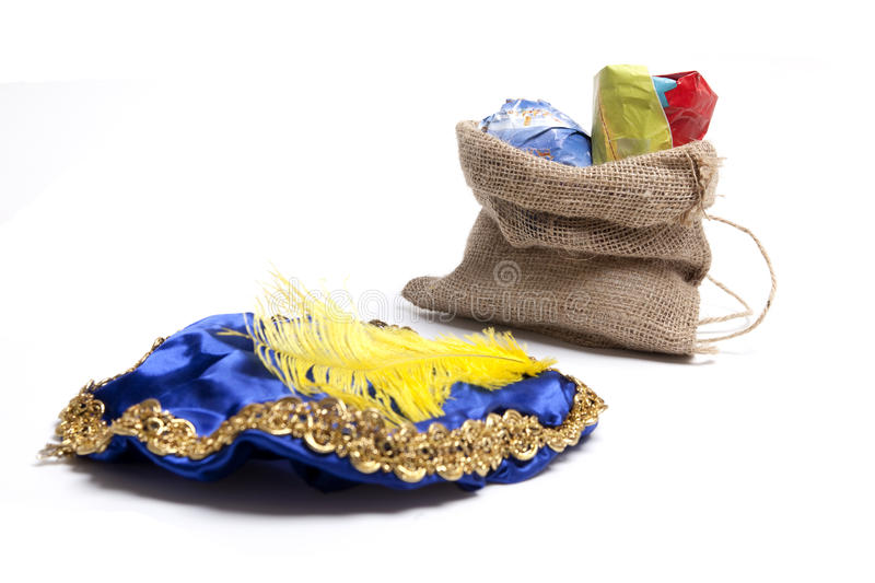 Presents in bag with hat of black Piet stock photo
