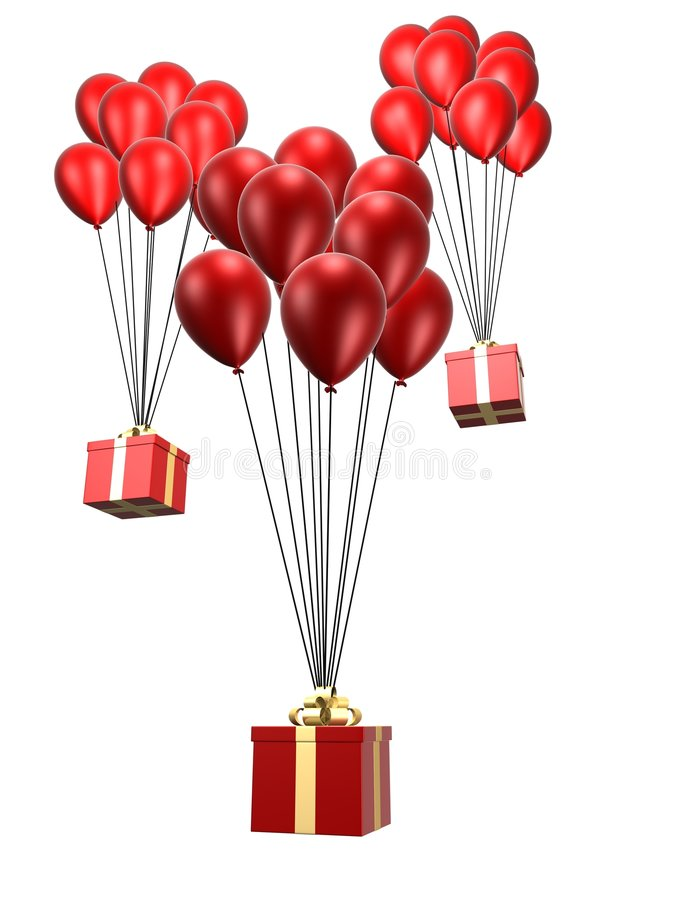 Presents and balloon