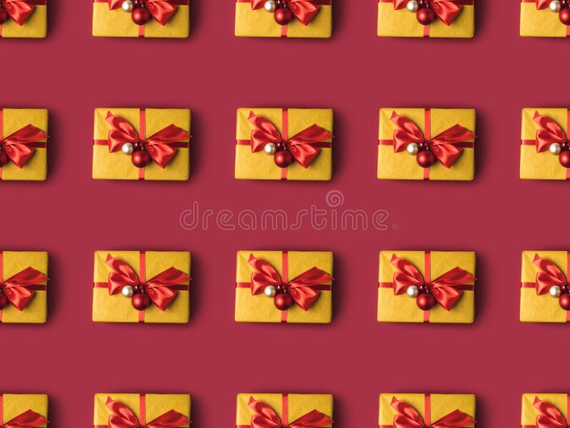 Full frame of wrapped presents decorated with christmas toys. And ribbons stock photos