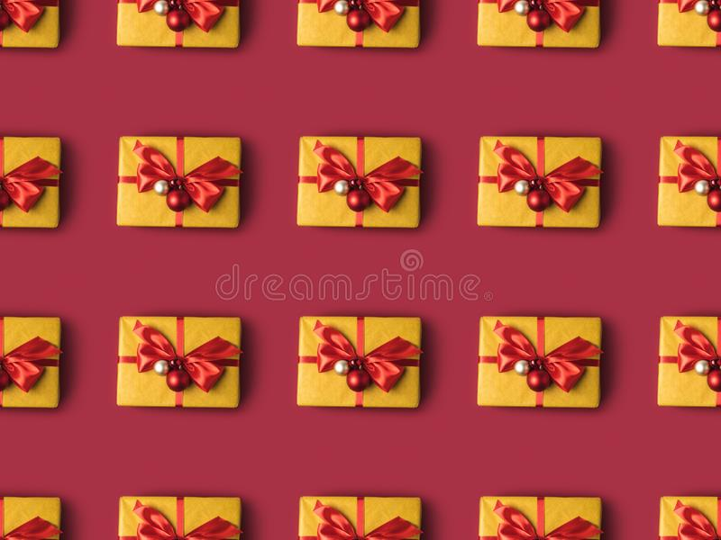 Full frame of wrapped presents decorated with christmas toys. And ribbons royalty free stock images