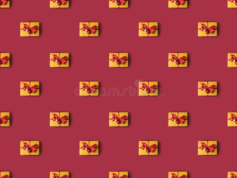 Full frame of wrapped presents decorated with christmas toys. And ribbons stock photo