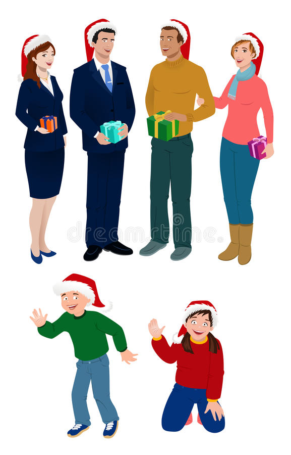 presents för folk för julgruppholding vektor illustrationer