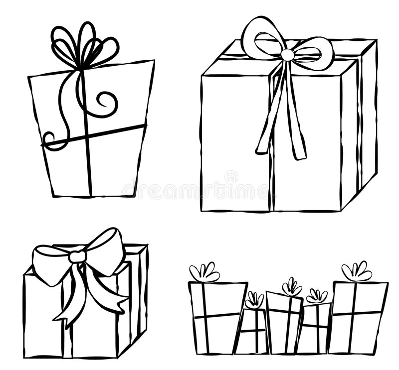 Presents Gifts Line Art. An illustration featuring your choice of gifts and presents. Line art (black and white illustrations) are perfect for projects where royalty free illustration