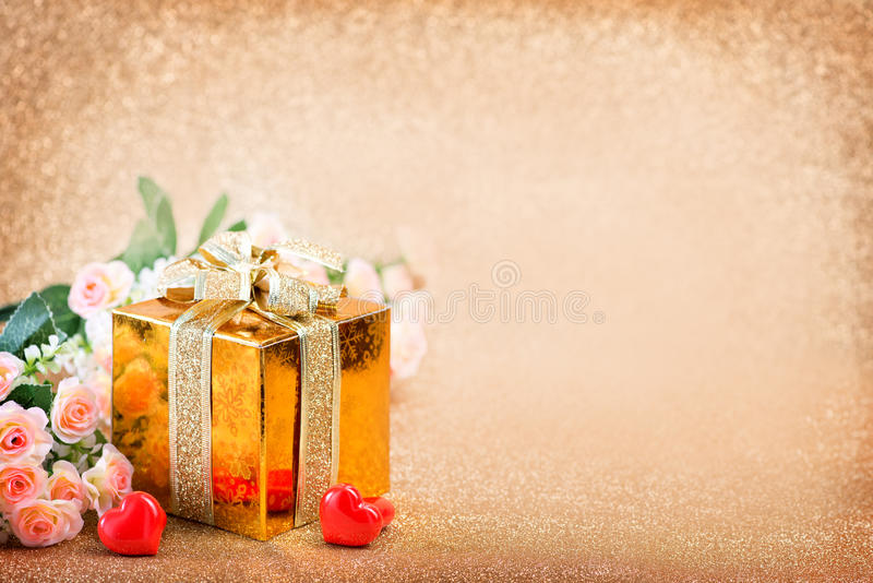 Presents and hearts royalty free stock photo