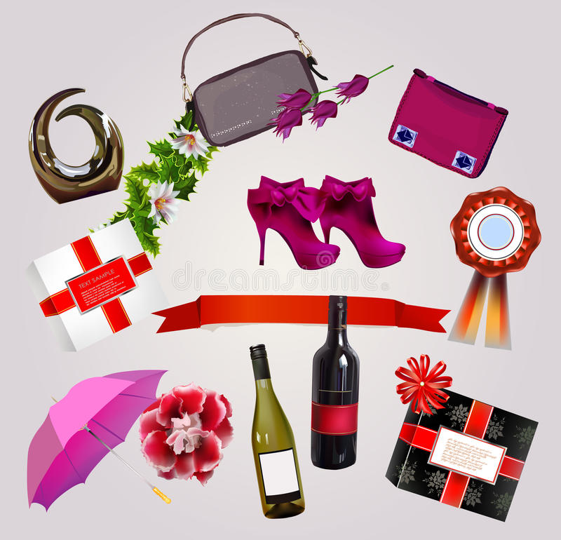 Presents for her, set. Presents for her, congratulation set royalty free illustration
