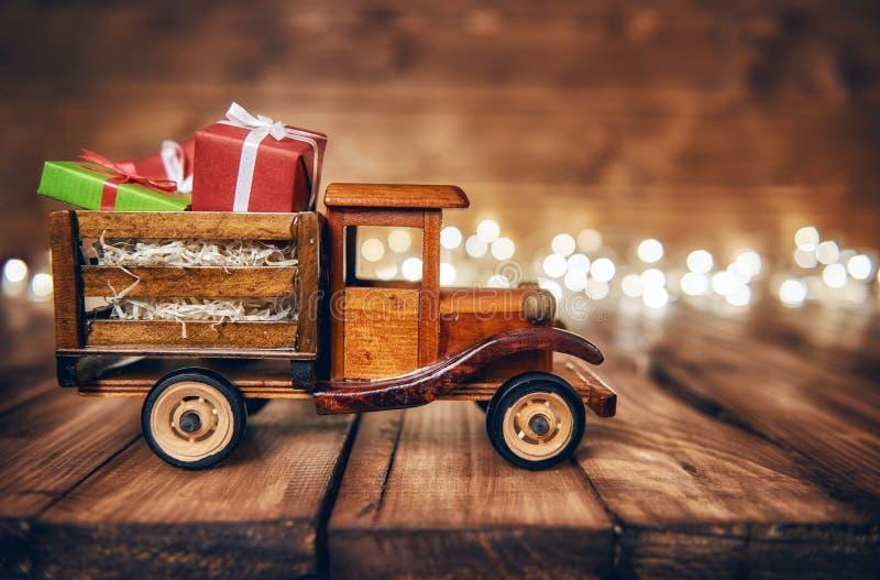 Presents on toy car royalty free stock photos