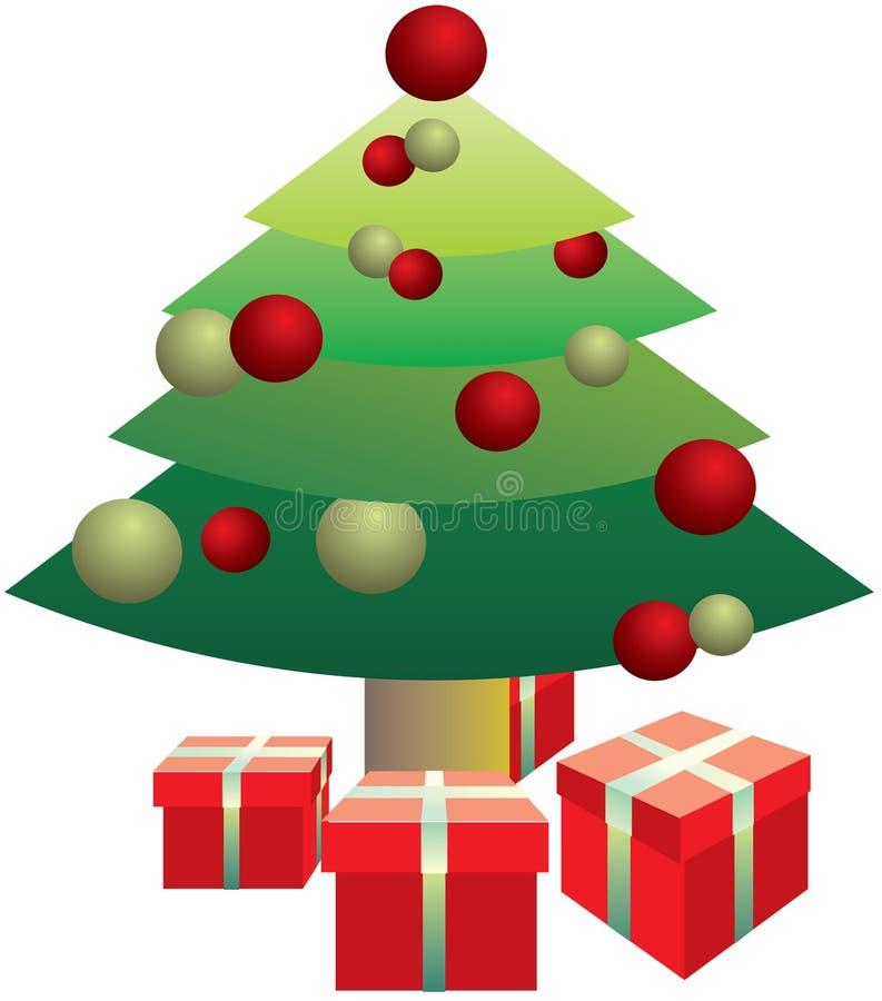 Presents under the Christmas tree stock illustration