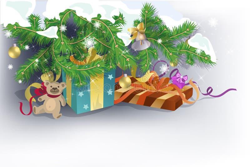 Presents under Christmas tree stock illustration